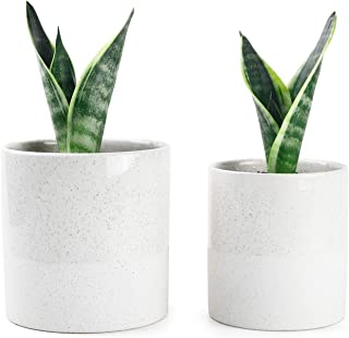 Greenaholics Plant Pots - 5.9 + 5.1 Inch Ceramic Planters for Snake Plant, Medium Indoor Plant, Vintage Style, with No Saucers, Beige