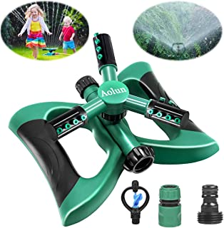 Garden Sprinkler- Automatic Lawn Water Sprinkler 360 Degree 3- Arm Rotating Sprinkler System