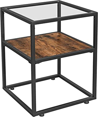 VASAGLE GLATAL Side Table, Tempered Glass End Table, Nightstand with Storage Shelf, Industrial Accent Furniture, Steel Frame, Easy Assembly, Rustic Brown and Black ULET03BX