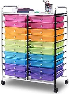 Giantex 20 Drawer Rolling Storage Cart Tools Scrapbook Paper Office School Organizer, Multicolor