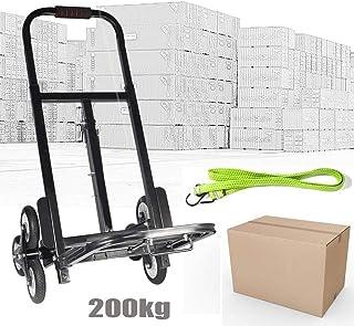 Escaleras Tranvía carretilla Escaleras carretilla hasta 200kg plegable 6ruedas carretilla Negro