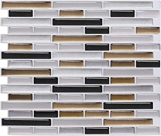 FARONZE Kitchen Mosaic Wall Tiles Peel and Stick Self-Adhesive DIY Backsplash Stick-on Vinyl Wall Tiles for Kitchen and Bathroom (Silver Gold Black Mixed)