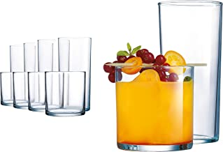 Elegant Drinking Glasses, 8 Highball Glasses (16oz) and 8 Rocks Glass (12oz), Set of 16 Durable Glass Cups — Lead-Free Clear Glassware Set