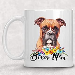 Boxer Mom Watercolor Floral Dog Lover Coffee Cup Mug