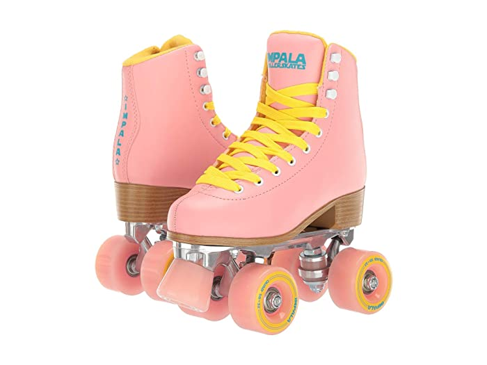 Vintage Sneakers, Retro Designs for Women Impala Rollerskates Impala Quad Skate Big KidAdult PinkYellow Girls Shoes $95.00 AT vintagedancer.com
