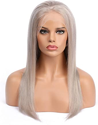 73215526a SHEENREAL Gray Lace Front Wigs Human Hair with Pre Plucked Natural Hairline  Silk Straight Brazilian Virgin