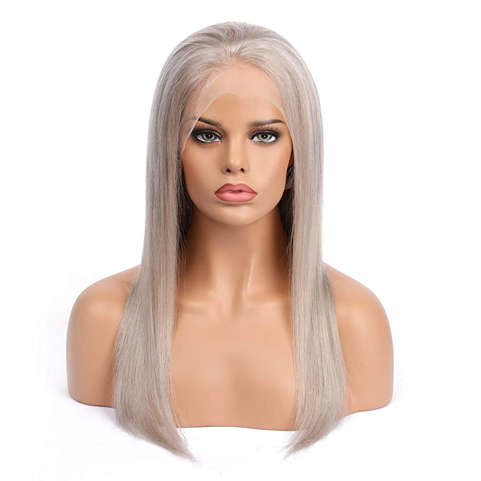 SHEENREAL Gray Lace Front Wigs Human Hair with Pre Plucked Natural Hairline Silk Straight Brazilian Virgin Hair, Ash Silver Human Hair Glueless Lace Wigs for Women (20inch, lace front wig)