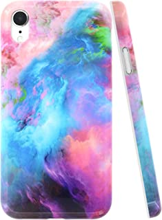A-Focus Case for iPhone XR Case Marble, Smooth Pink Blue Marble IMD Design Series Bumper Shock Proof Flexible Slim TPU Silicone Case for iPhone XR 2018 6.1 inch Glossy Gradient Blue Pink