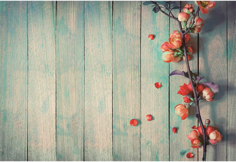 DaShan 14x10ft Rustic Wood Flowers Backdrop for Happy Valentines Day Mothers Day Decor Wedding Floral Photography Background Bridal Shower Birthday Party Lovers Girls Portrait Studio Props