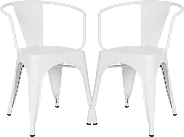 Poly And Bark Trattoria Arm Chair In White Set Of 2