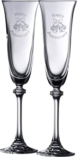 Galway Crystal Happy Anniversary Liberty Flutes (1 Pair), Clear