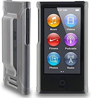 Nakedcellphone CLEAR FROST HARD CASE COVER WITH BELT CLIP HOLSTER FOR APPLE iPOD NANO 7 7th GEN GENERATION