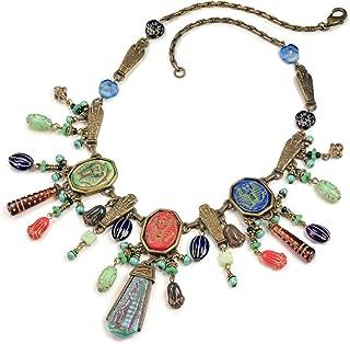 Sweet Romance Ancient Egyptian Art Deco Egypt Statement Necklace
