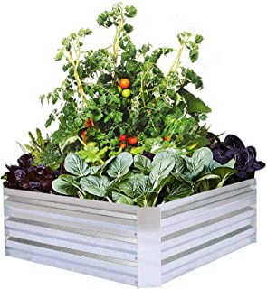 Galvanized Raised Garden Beds for Vegetables Metal Planter Boxes Outdoor Flower Bed Kit Steel Patio 3x3x1FT