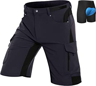Vzteek Men's-Mountain-Bike-Shorts for Men MTB Shorts Padded 4D-Loose-Fit-Breathable 6 Pockets Outdoor Sports Casual Biking...