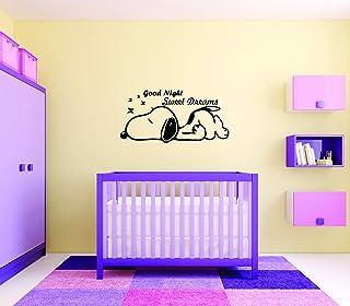 Snoopy Good Night Sleep Wall Decals for Kids Bedroom/The Peanuts Movies Bed Time Sweet Dreams/Nursery Baby Babies Vinyl St...