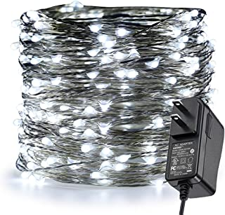 ER CHEN Fairy Lights Plug in, 99Ft/30M 300 LED Silver Coated Copper Wire Starry String Lights Outdoor/Indoor Decorative Lights for Bedroom, Patio, Garden, Party, Christmas Tree (White)