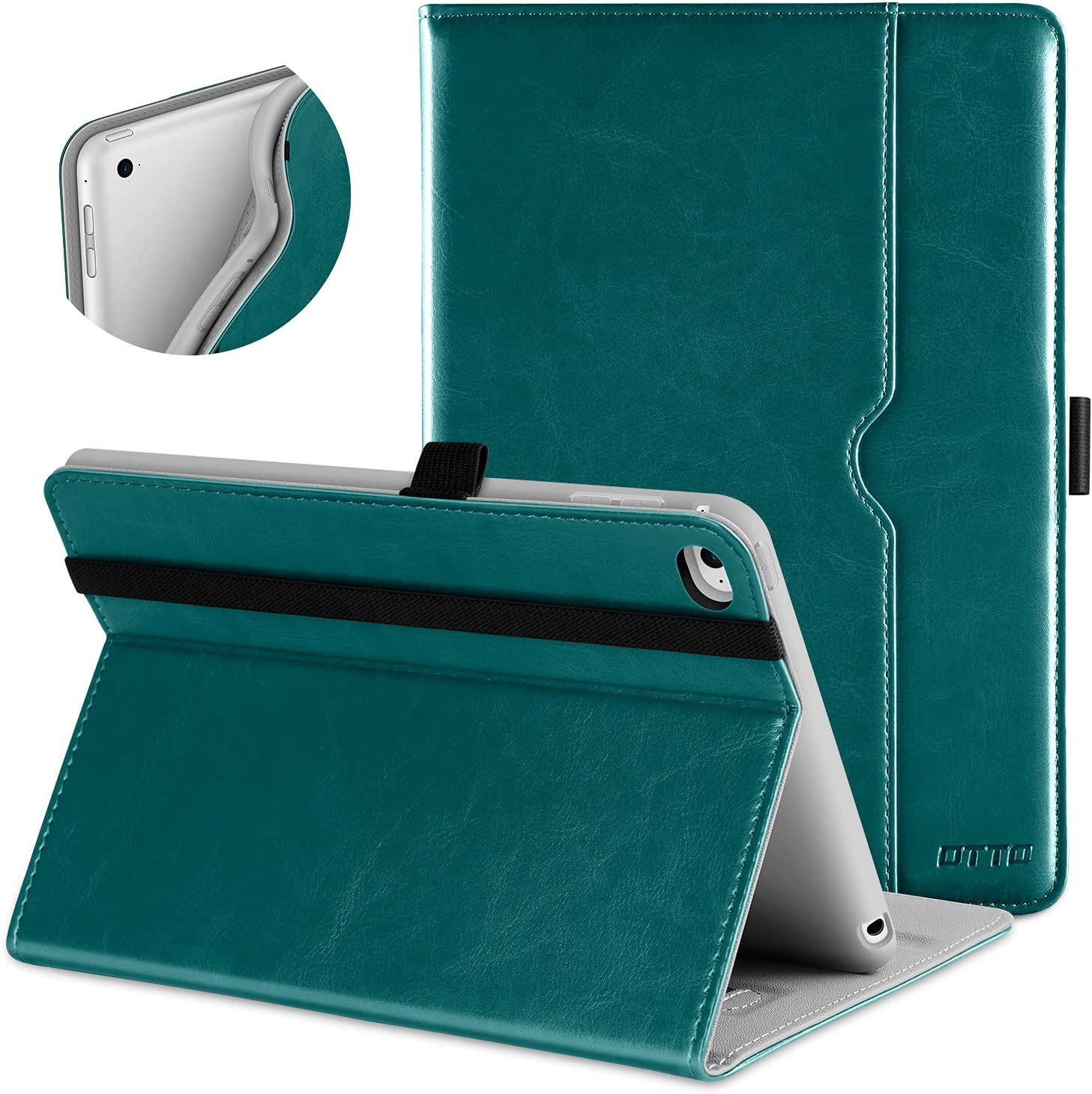 DTTO iPad Mini 4 Case, Premium Leather Folio Stand Cover Case with Multi-Angle Viewing and Auto Wake-Sleep Function, Front Pocket for Apple iPad Mini 4 - Green