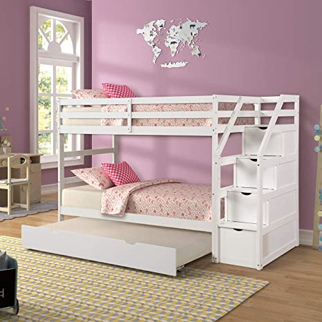 Amazon Com Trundle Bunk Beds Rockjame Solid Wood Twin Over Twin Bunk Bed With Stairs Storage And Safety Guard Rail For Boys Girls Kids Teens And Adults White Kitchen Dining