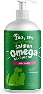 Zesty Paws Alaskan Salmon Oil with Hemp for Dogs & Cats - Omega 3 & 6 Fish Oil Pet Supplement with Epa & Dha - Anti Itchin...