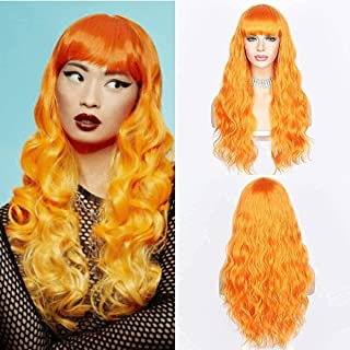 QD-Udreamy Orange Long Wigs with Air Bangs Natural Wavy Heat Resistant Wigs for Women Machine Made Hair Replacement Wig fo...