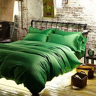 677f5b4a5766 Newrara Luxury Linen Cotton Satin Solid Color Emerald-green Duvet Cover Bed  Sheets Set Queen