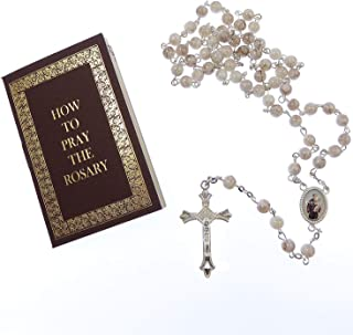 White Marble effect glass St. Anthony rosary beads with How to Pray Rosary book