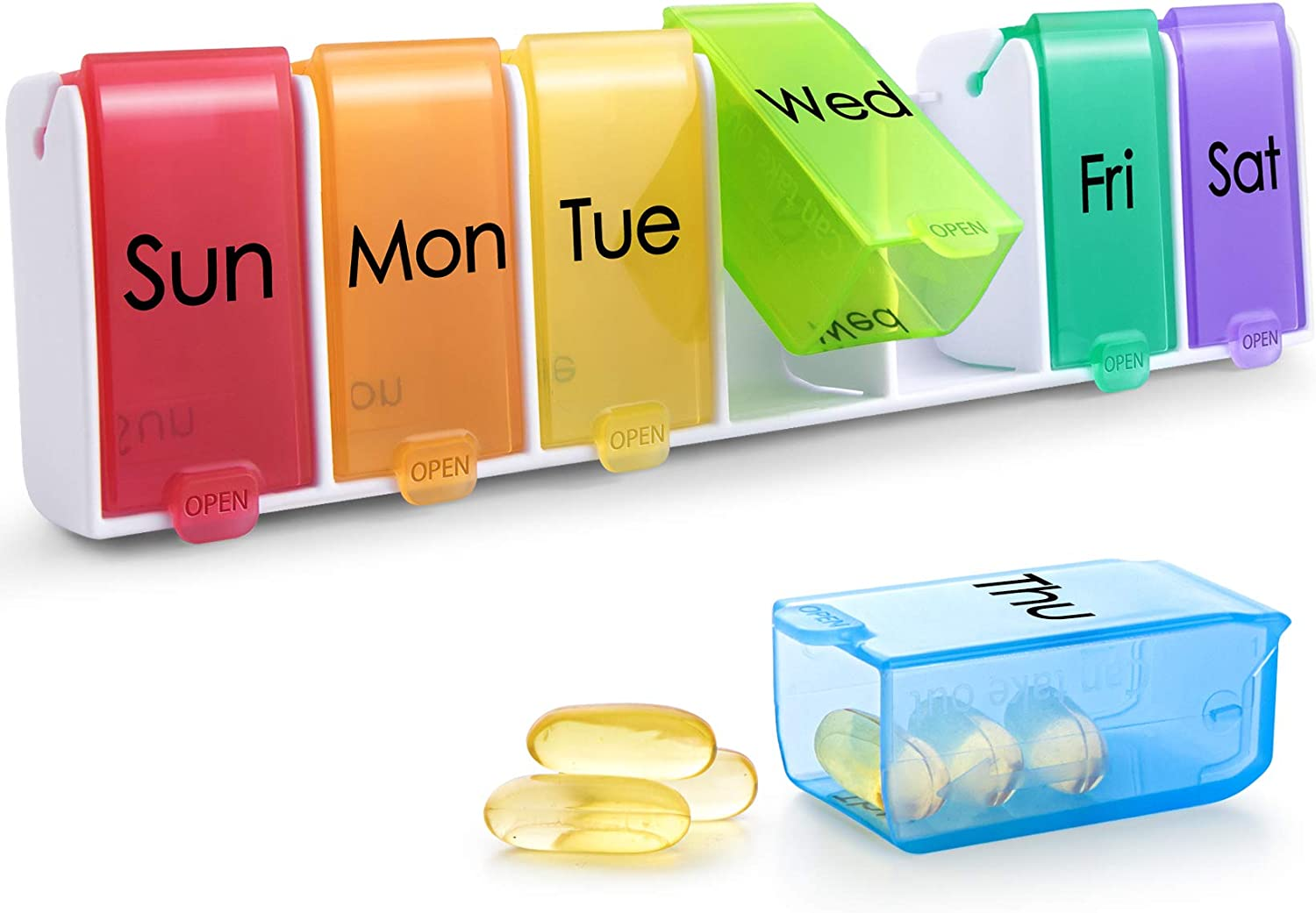 Weekly wholesale Pill Sale Special Price Organizer Quick-Refill Daily Upgraded Rem Case