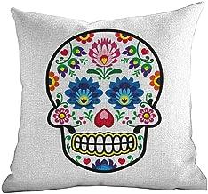 Matt Flowe Hidden Zippered Pillowcase Sugar Skull Decor,Polish Folk Art Style Mexican Sugar Skull Design Ethnic Carnival Theme,Multicolor,for Home Sofas,bedrooms,Offices,and More 20