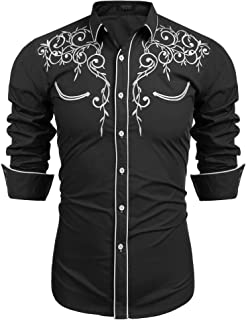 Men's Long Sleeve Embroidered Shirt Slim Fit Casual Button Down Shirts