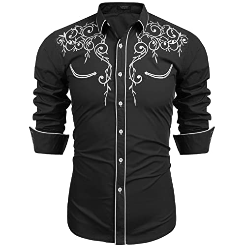 6546d812f6 COOFANDY Men s Long Sleeve Embroidered Shirt Slim Fit Casual Button Down  Shirts