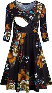 Quinee Women Round Neck 3/4 Sleeve Floral Empire Waist Nursing Dress for Breastfeeding