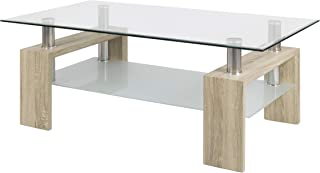 duehome Mesa Centro Moderna de Cristal, Mesita de Salon, Color Cambria Medidas: 110 cm (Largo) x 60 cm (Ancho) x 45 cm (Altura)