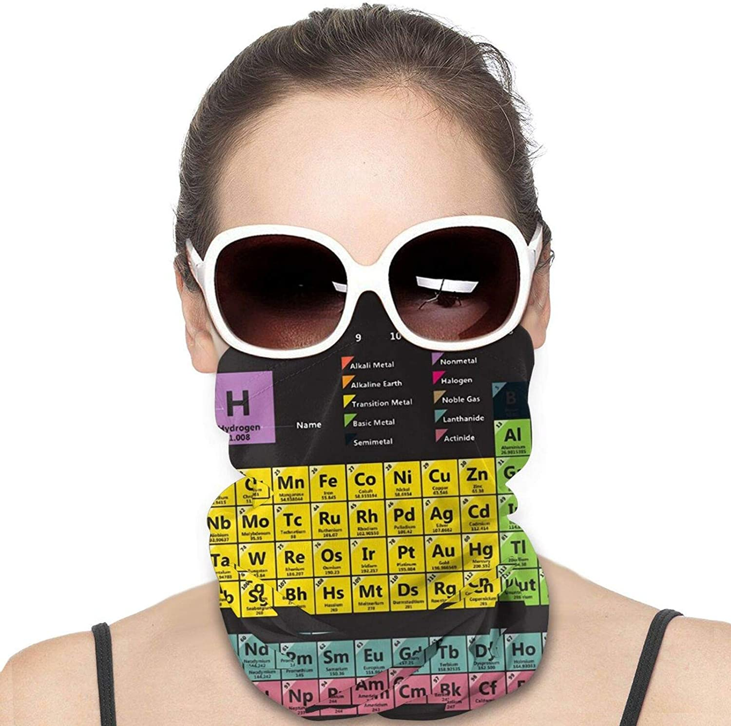 Periodic Table of The Elements Chemistry Neck Gaiter Windproof Face Cover Balaclava Outdoors Magic Scarf Headband for Men Women Motorcycling Fishing Running Climbing