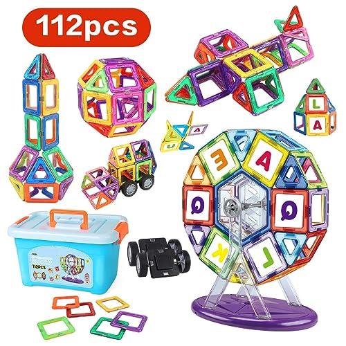LBLA 112 Pièces Blocs de Construction Magnétiques Jeux Construction Aimanté Jeu Magnétique Jouet de Construction Educatif et Créatif Cadeau pour Enfant Fille Garçon