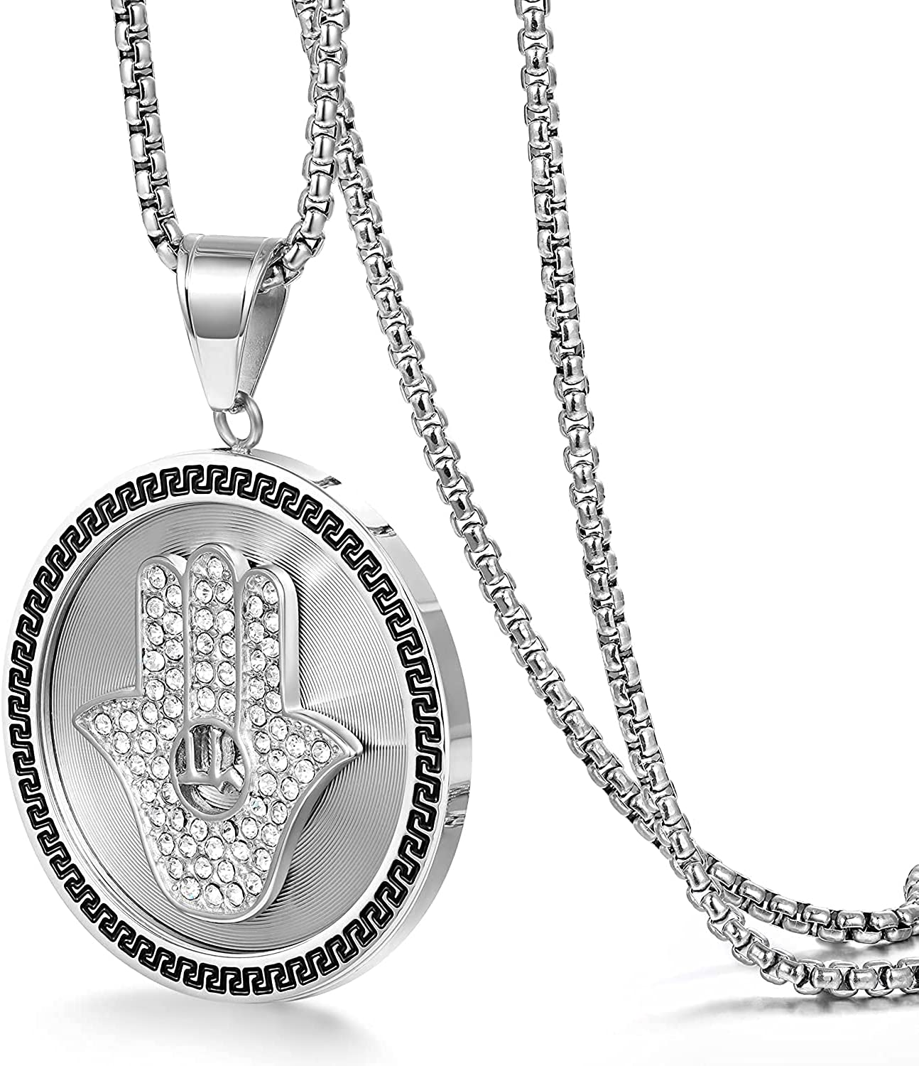 LaSua Men's - Hamsa Hand Circle Necklace Coins Hip Chicago Mall Hop Regular discount Out Iced