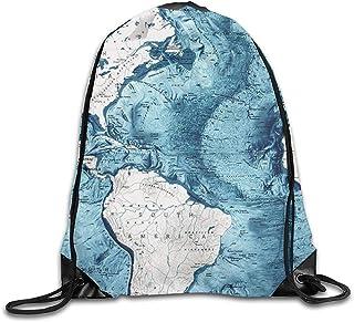 Mochilas con Cordón Piso del Océano Atlántico América del Sur Mapa Americano Bolsas De Hombro Deporte De Viaje Gimnasio Mochila Yoga Runner Mochila Bolsas para Zapatos