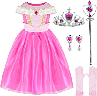 Sleeping Beauty Princess Aurora Costume Girls Birthday Party Dress Up With Accessories 4-5 Years (Style2 110CM)