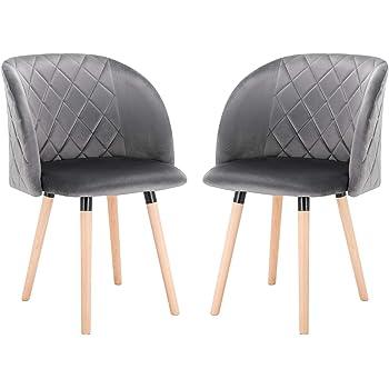 EUGAD 0301BY 2 2 Stücke Esszimmerstühle Küchenstuhl Wohnzimmerstuhl Polsterstuhl, Retro Design, gepolsterte Sitzfläche aus Samt, Massivholz,