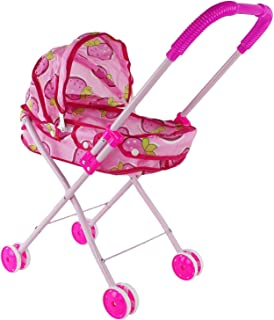 Kids Rock Trading Children's Imaginary Pretend Play Baby Doll Accessory 80's Vintage Bright Pink Strawberry Stroller Toy, A New Look of Different Types of Strollers for Baby Dolls