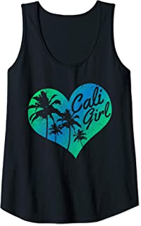 Womens Cali Girl - Vintage California Heart Palm Trees Summer Gift Tank Top