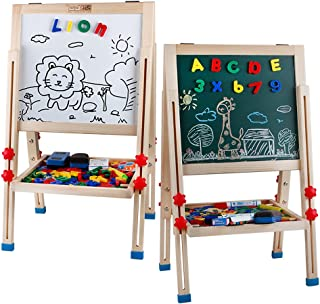 Life&Fun Kid's Art Easel Double Sided Adjustable Drawing Board Wooden Standing Art Easel - Dry-Erase Board, Chalkboard, Storage trays And Accessories (Easel Set)