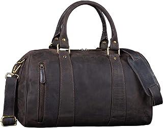 """STILORD Keanu"""" Leder Weekender Herren kleine Vintage Reisetasche zum Umhängen Handgepäck Reisegepäck in Kabinengröße echtes Rindsleder, Farbe:dunkel - braun"""