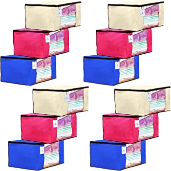 Kuber Industries 12 Piece Non Woven Fabric Saree Cover Set with Transparent Window, Extra Large, Ivory,Royal Blue,Pink-CTKTC23713