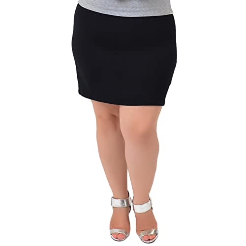 631fc8af6ebe2 Stretch is Comfort Women s Plus Size Cotton Soft Stretch Fabric Basic Mini  Skirt