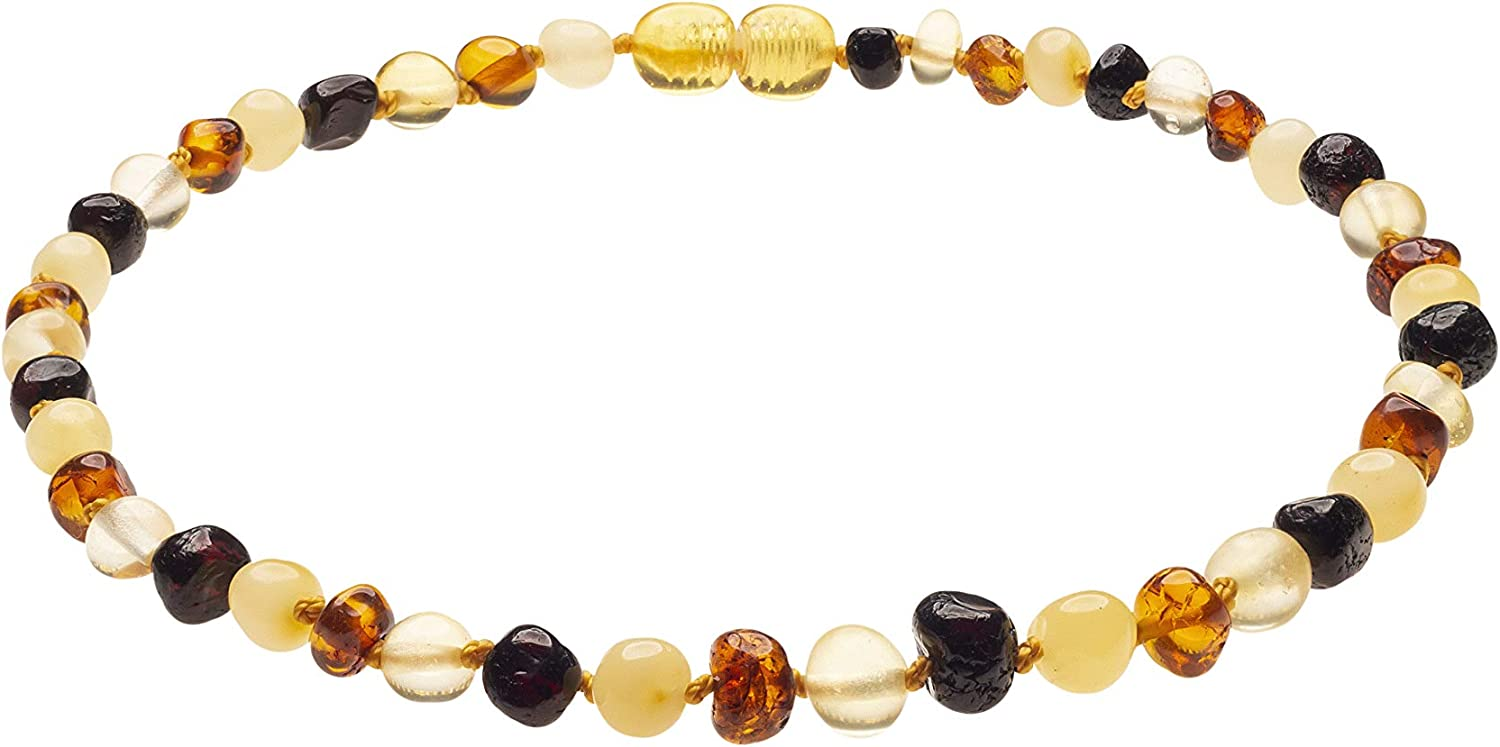 Genuine Amber Necklace from Baltic Sea Made with Polished Mixed 34 cm (13.4 Inches)