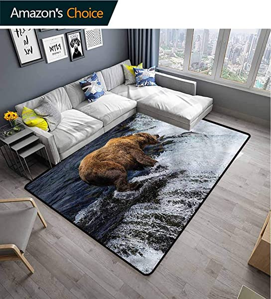 TableCoversHome National Parks Animals Girls Rooms Nursery Decor Mats Bear Alaska Wildlife Pattern Printing Carpet Easy Maintenance Area Rug Living Room Bedroom Carpet 3 X 5