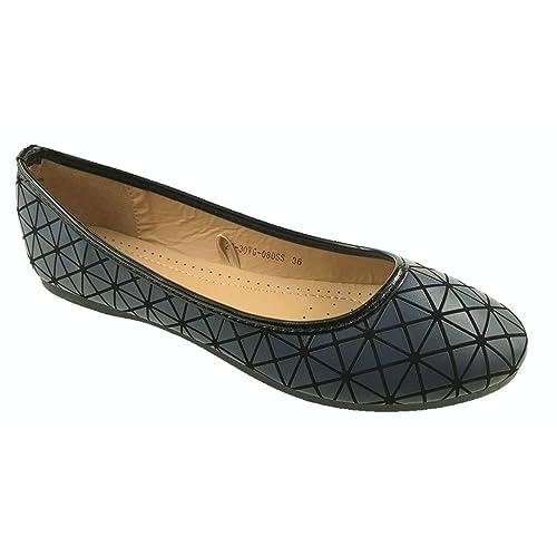 acab4bd1eaae Zenden Ladies Faux Leather Slip On Comfort Flat Casual Ballerina Shoes Size  UK 3-8