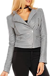 L Olive Verte Women's Faux-Leather Jacket with Snap Collar - S/M/L/XL