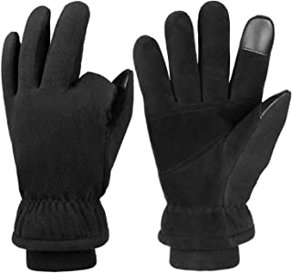 OZERO -30 ℉ Winter Gloves with Touch Screen Finger and Heated Febrile Lining - Deerskin Leather Cold Weather Thermal Glove for Men and Women